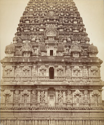 Detail of the vimana or great tower of the Brihadishvara Temple, Tanjore.